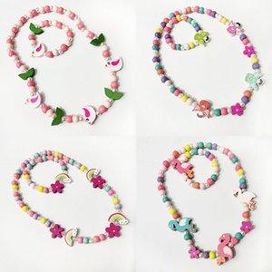 5 개 스타일 키즈 목걸이 액세서리 다채로운 구슬 새 꽃 무지개 매력 구슬 목걸이 + 팔찌 어린 소녀 생일 보석 선물 M2904을 설정합니다