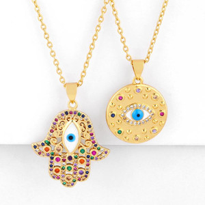Anhänger Halsketten Türkisch Evil Eye Halskette Gold Gefüllt Fatima Hand Für Womens Cubic Zirkon Modeschmuck Zubehör Nkeq18