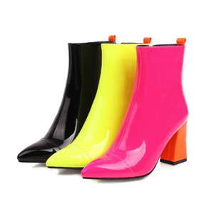 US4-12 Womens Patent Leather Ankle Boots Block High Heel Side Zipper Shoes Pointed Toe Match Colors Plus Size 3Color SONDR