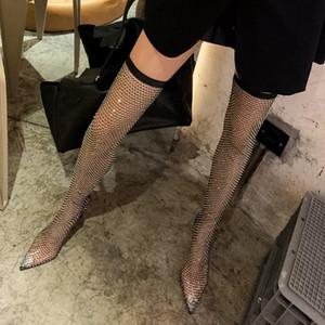 2021 Kardashian's cool boots with high heel and thin heel zip rubber bottom high tube over knee rhinestone mesh high heels