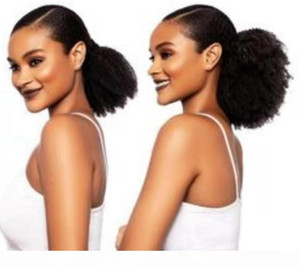 4B 4C Afro Kinky Curly StayTring PonyTail For Naturals Weave Black Ponytail Clip en la extensión del cabello humano 1b