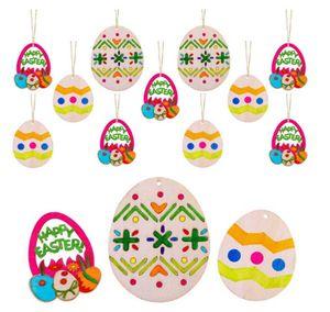 10Pcs DIY Carved Egg Hanging Pendants Ornaments Easter Decorations Pendant Creative Wooden Craft Party Favors LLA90