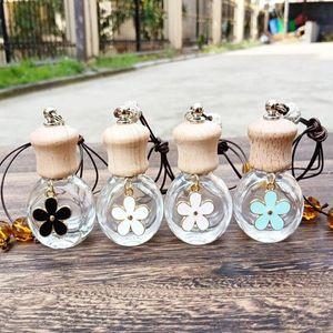 6ML Car Glass Perfume Bottle Pendant Mini Refillable Perfume Packaging Bottle with Wooden Cap