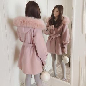 Sonbahar ve Kış Yeni Pembe Yün Coat Kadın 2020 Kore Gevşek Kapşonlu Sashes Tam Kol Ofisi Bayanlar Yün Coat Ceket f2122