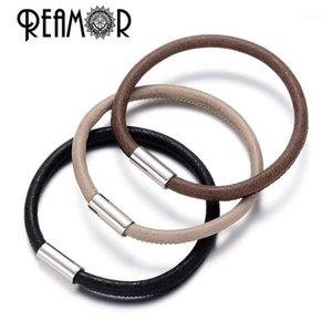 Reamor Top Quality 5 мм верблюда кожаные браслеты DIY низовые бусины шарм браслеты для менмонских ювелирных изделий с магнитом CLASP1