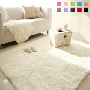 Soft Fluffy Shaggy Rectangle Carpet Floor Mat Living Room Decorative Blanket Area Rug Solid Color White Beige Pink Coffee Black