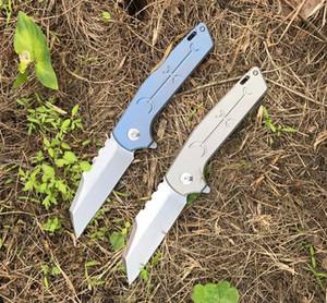 New Flipper Folding Knife D2 Stone Wash Blade TC4 Titanium Alloy Handle Ball Bearing EDC Pocket Folding Knives