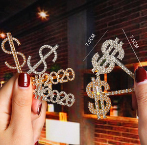 Fashion Gold Silver Women Crystal Rhinestone Word Letters Hair Clips Barrettes Hairpins Hairgrips Headwear Hair Styling Accessories