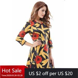 2020 Ukraine Style Women Autumn Floral Dress T-Shirt Dress Vintage 3 4 Sleeve V Neck Casual Rose A Line Mini Dresses Plus Size
