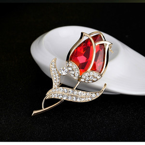 gold flower brooches pins Crystal tulip dress business suit brooch for women fashion jewelry will and sandy