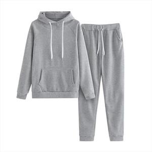 Autumn Running Tracksuit Sportwear Women Solid Long Sleeved Hooded Zipper Sweatshirt Jacket pant Sport Suit 2 Piece Set