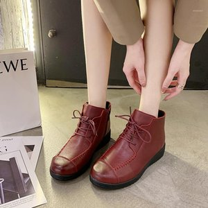 Rome Genuine Leather Women Boot Warm Plush Ankle Boots for Women Chunky Platform Rubber Fashion Short Boots Mujer Botas1