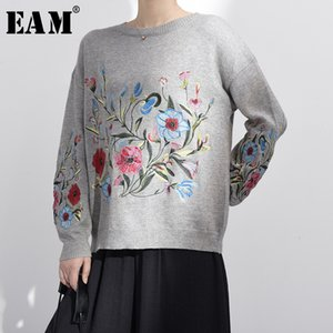 [EAM] Spring Autumn Round Neck Long Sleeve Flower Embroidered Knitting Warm Loose Sweater Pollovers Women Fashion V74702 201016