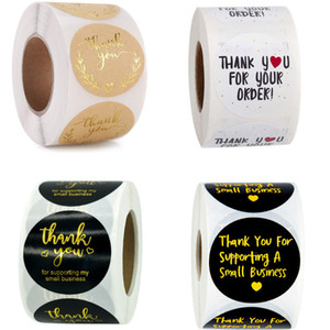 500pcs Roll 1.5inch Paper Thank You Handmade Round Adhesive Stickers Label For Holiday Wedding Baking Gift Bag Business Decor