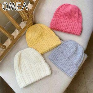 OMEA Angora Long Fur Twist Winter Hats for Women Beanies Soft Knitting Wool Hat Solid Fashion Falls Elegant Pink Bonnet