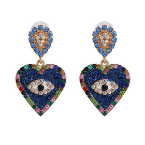 Wholesale creative heart shape eyes dangle earrings crystal rhinestone earrings women girl party jewelry gift