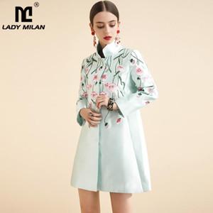 Lady Mailand Herbst-Frauen Runway Trench Coats Stehkragen langen Ärmeln Embriidery beiläufige Art und Weise Blumenüberzieher Oberbekleidung