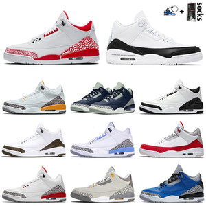 nike air jordan retro 3 3s III New Quality Jumpman Hommes Basketball Chaussures Fire Laser rouge Orange Bleu Ciment Coly Gris Knicks Rivals Formateurs Fashion Sneakers 7-13