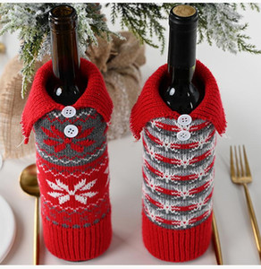 Knitted Christmas Wine Cover Bag Snowflake Button Knitted 30*10cm Creative Designer Wine Bottle Cover Christmas Decoration EWE3045