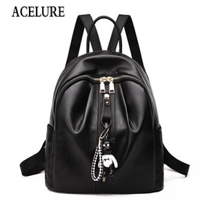 Acelure Fashion New Bear Pendant Zipper Backpack For Women Solid Soft Pu Leather Sweet Lady Backpack Lovely Student School Bag bbyUvK