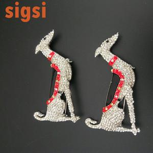 10pcs / lot tazı 65mm köpek broş pin hayvan broş 201.009 oturan ücretsiz gönderim kristalini