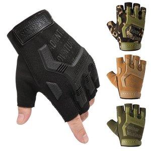 Hanxi táctico medio dedo guantes ejército disparando paintball combate duro knuckle motocicleta sin dedos Gloves1