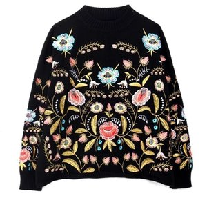 LANMREM 2020 Round Collar Flowers Embroidery Top Loose Korean autumn Long Sleeve Woman's New Fashion Sweater FA50001 Q1115