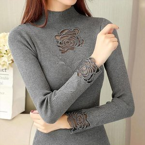 Rose Embroidery Turtleneck Sweater Women Spring Autumn Diamonds Transparent Slim Knit Pullover Jumper M9D503Y Drop Shipping