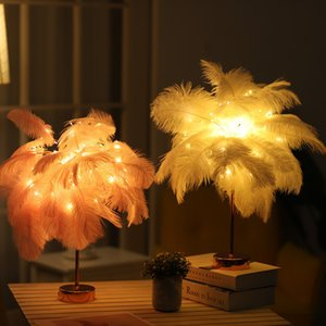 Nordic DIY Natural Ostrich Feather Night Light Table Lamp Bedroom Study Living Room Office Home Decoration LED Night Lamp C1007