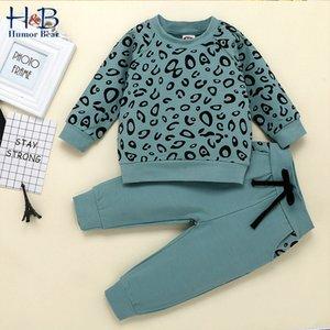Humor Bär Herbst Frühling Winter-Kind-Kleidung Kleinkind Leopar Print Top Sweater + Hosen 2ST Anzug Kinderkleidung Sets 201022