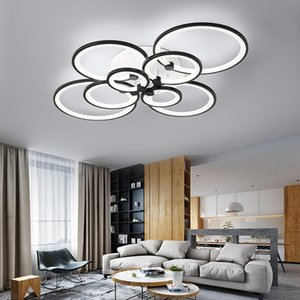 2021 New Moderno Led Circle Light Chandelier Remote Control to Dining Room Decoration Black Ceiling Lamp E2CV