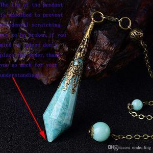 Amazonite facetadas Péndulo pendiente bala amazonite cristal antiguo pendiente W / 1Pc los granos naturales Wicca bronce fianza cadena Reiki Chakra Vubh