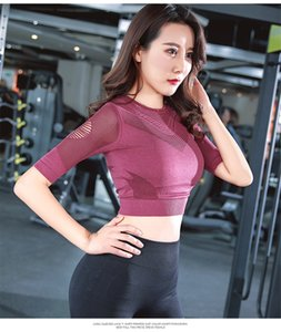 ToyHouse New Hot Selling Hohle Sport Yoga Trainings-Kleidung Feminine Crop Top dünnes Training Laufen Nahtlose Netzärmel