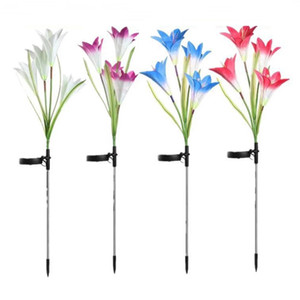 Outdoor LED Solar Light Colorful Lily Garden Flower LED Decorative Lawn Lamp Home Garden IP65 Waterproof Fake Flower Night Light
