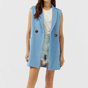 KUMSVAG 2020 Gilets d'été Femmes solides manches GILET Manteaux double breasted Femme Vest Vêtements d'extérieur