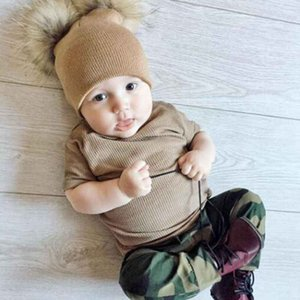 Luxury-New Baby Hat Knit Hat Rabbit Fur Ball Caps Autumn And Winter Baby Men'S Head Cap Double Ball Detachable Wool Cap