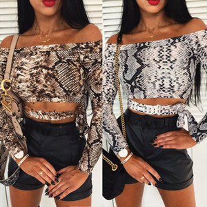 Summer Women Ladies Sexy Snake Skin Print Off Shoulder Long Sleeve Short Shirts Spring Autumn Female Sexy Skinny Crop Tops blusa