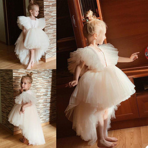 2021 High Low Tulle Princess Flower Girls' Dresses Capped Sleeves Zipper Back Pageant Party Birthday Gowns