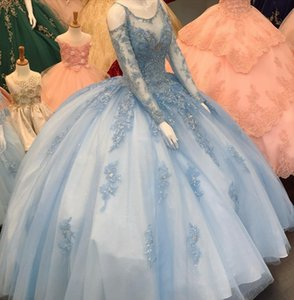 Light Blue Long Sleeves Quinceanera Dresses Lace Appliqued Zipper Sweet 16 Dress Special Occasion Party Gown