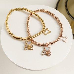 Ofei Zwei nette Muschel Bär Armbänder für Frauen Bären geben dir Liebe Perle Brief Schmuck Gold Farbe Armbänder Mode Zubehör