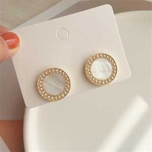 Vintage temperament shell earring minimalist style French luxury round pearl stud earring for women Jewelry Making
