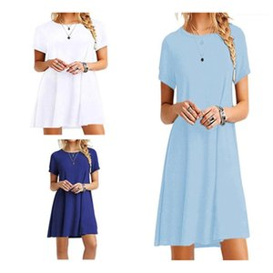 Party Dress Designer Female Plus Size Short Sleeve Loose Mini Dress Ladies Casual Boho Beach Dresses Fashion Trend Summer Womens Round Neck