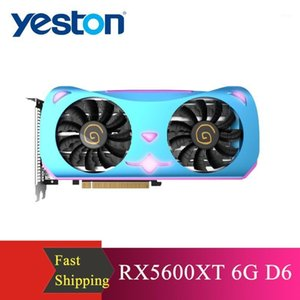 YESTON RX5600XT 6G D6 MA Графическая карта 1560-1620 МГц 14 ГГц 6 ГБ 192 бит ГДДР6 Игровая видеокарта с 2 фанатами 4 Тепловые трубы New1