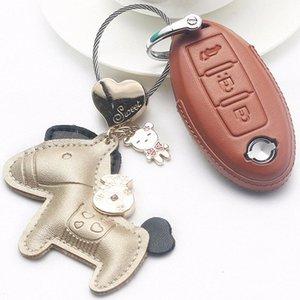 Colorido cuero auténtico llave del coche del caso para el Qashqai J10 J11 X Trail T31 T32 retrocesos Tiida Pathfinder Murano Nota Juke 9c7h #