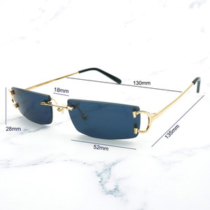 Small Size Square Rimless Sunglasses Men Women with C Decoration Wire Frame Unisex Luxury Eyewear for Summer Outdoor Traveling 2252510041