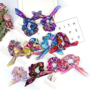 Rabbit Ear Hairband Rainbow Bow Hair Tie Dye Glitter Laser Elastic Hair Bands Women Ponytail Holder Girls Scrunchies Hair Accessories