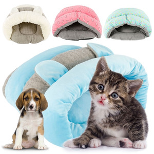 Cute Pet Cat Dog House Winter Warm Slippers Style Dog Bed Pet House Dog Kennel Washable Cat House Soft Cotton Mats Sofa for Pet Y200330