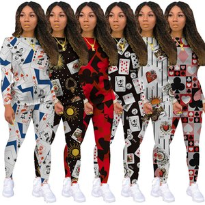 Women Clothing Fashion Poker Printing Home 2 Piece Set Casual Sportswear Ladies Long Sleeve Trousers Casual Comfortable Yoga Suits