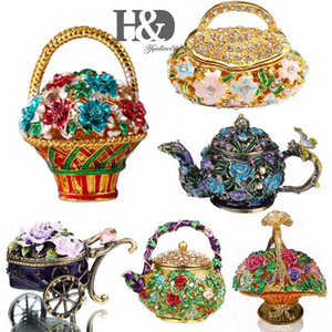 Collectible HD articulada florais porta trecos Cristal Jeweled Flower Box decorativa jóia do casamento Presente de Natal Decor estatueta