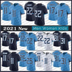 22 Derrick Henry Jersey Men Donne Gioventù 11 Brown 31 Kevin Byalard 17 Ryan Tannehill 77 Taylor Lewan Jackson TennesseeMaglie di calcio